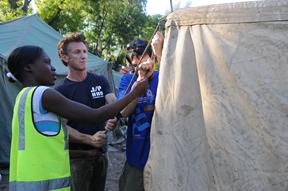 Sean Penn with Israeli volunteers from Tevel b'Tzedek in Haiti (courtesy Tevel b'Tzedek)
