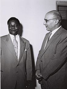 Israeli Minister of Commerce and Industry Pinhas Sapir and Nigerian Minister of Commerce, JU Nwodo, 1959