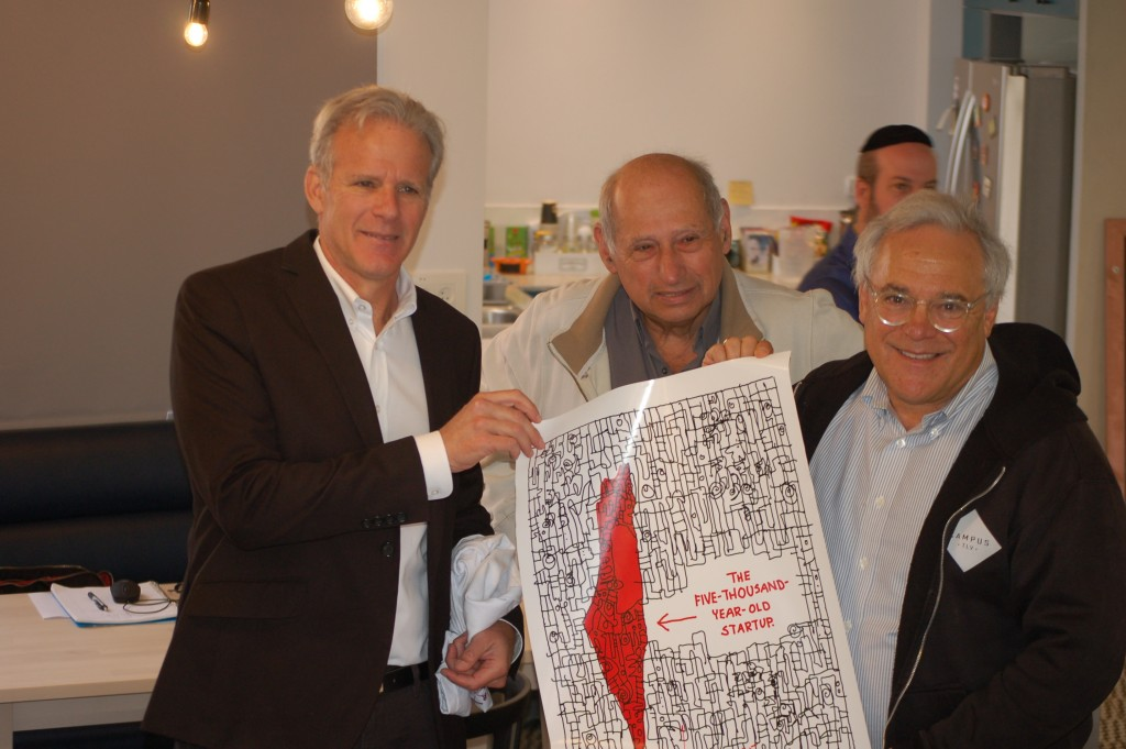 Former Israel Ambassador to the U.S., Michael Oren (left) visited Hub Etzion the morning I was there.... joining me was Ken Shostack (center).