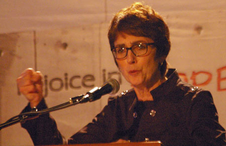 Lynne Hybel's a prominent figure in American Evangelicalism, speaks at the 2012 Christ at the Checkpoint Conference in Bethlehem. This conference, held every two years, has become a gathering point for anti-Israel activists who hope to turn Evangelical Protestants in the U.S. against Israel. Hybels is a major figure in this movement.