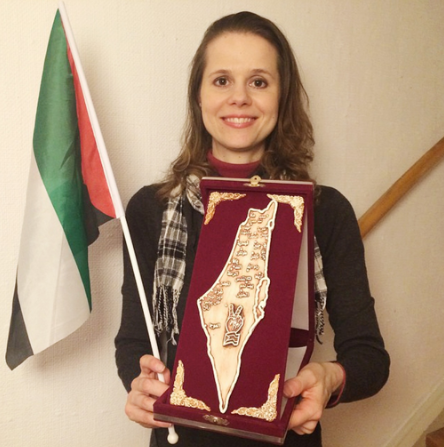 """On 30 November 2014 Hillevi Larsson, Swedish MP, received an award for her """"devotion to Palestine""""; including detailed map in which Israel was no more. (Source: Instagram @hillevilarsson)"""