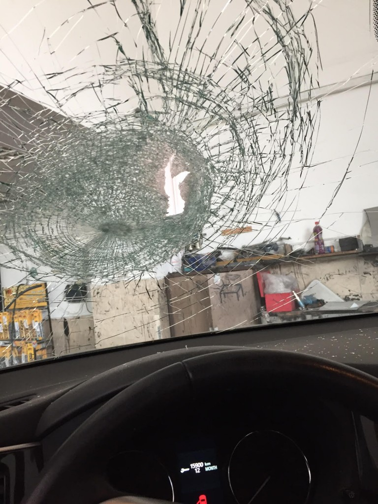 Party Planner's windshield after terrorist attack