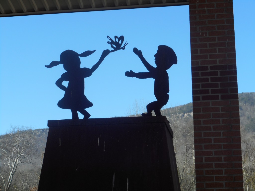 At the entrance to the Children's Holocaust Memorial-children and the butterfly