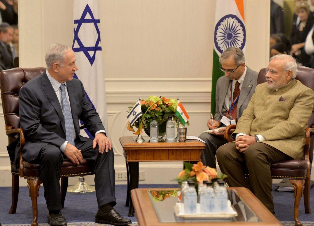 Indian Prime Minister (right) meetsIsraeli Prime Minister Benjamin Netanyahu (left) inNew York City on September 28, 2014. ©timesofisrael