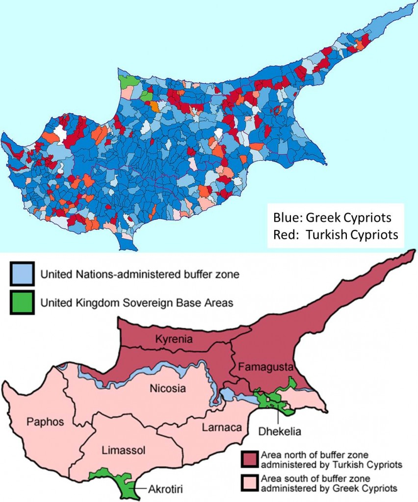 Before & After: ethno-religious distribution in Cyprus, before and after the war and Turkish invasion.