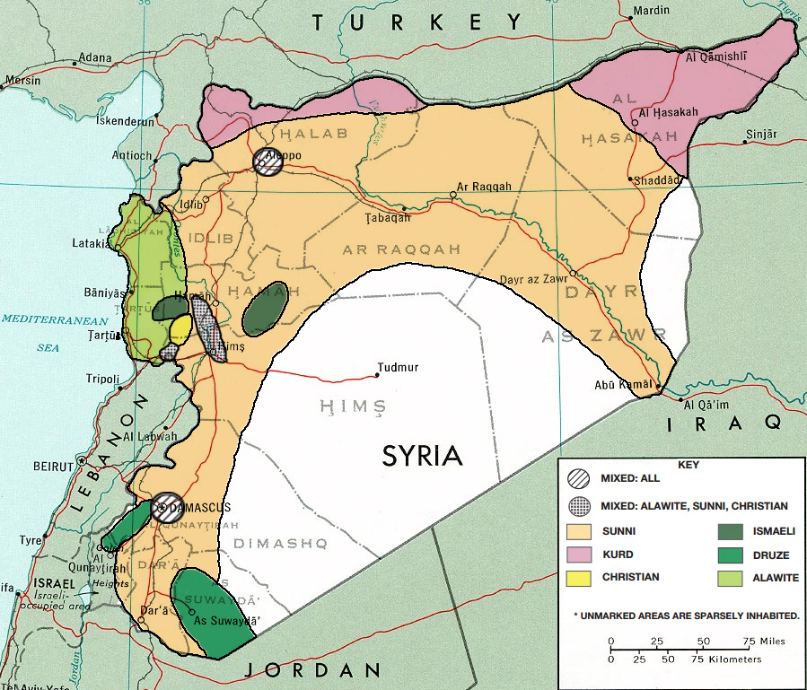 'Syria': ethno-religious distribution, prior to the civil war. {public domain}