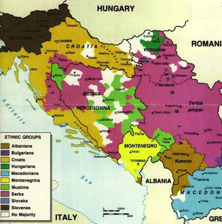 Yugoslavia': colours represent geographic distribution of various ethnicities, prior to the civil war; the black lines are the borders between the nation states that emerged from the war. {public domain}