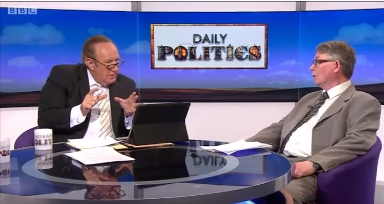 Gerry Downing (right) talks about the 'Jewish Question', but also rages against 'the Zionists'. He was therefore considered 'kosher' for a BBC interview. {YouTube screen capture}