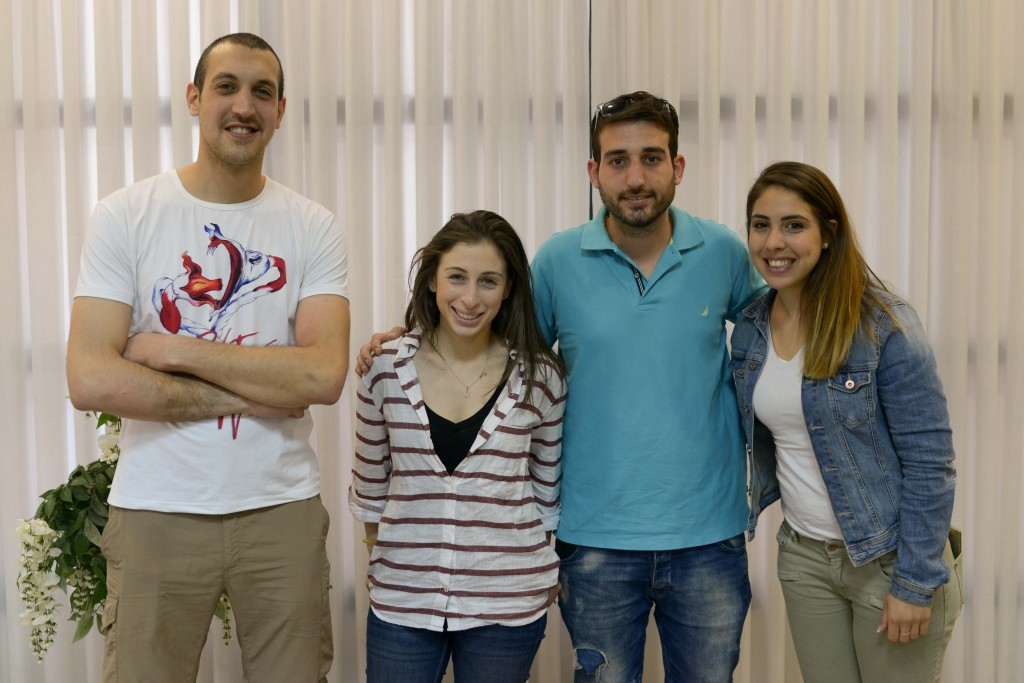 Photo of Jess with Arab and Jewish students at UJIA-funded Western Galilee College, near Akko.