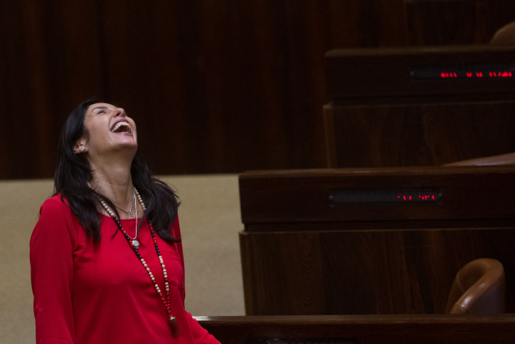 Culture Minister Miri Regev responds to Justice Minister Ayelet Shaked's amusing anecdote. (Miriam Alster/FLASH90)