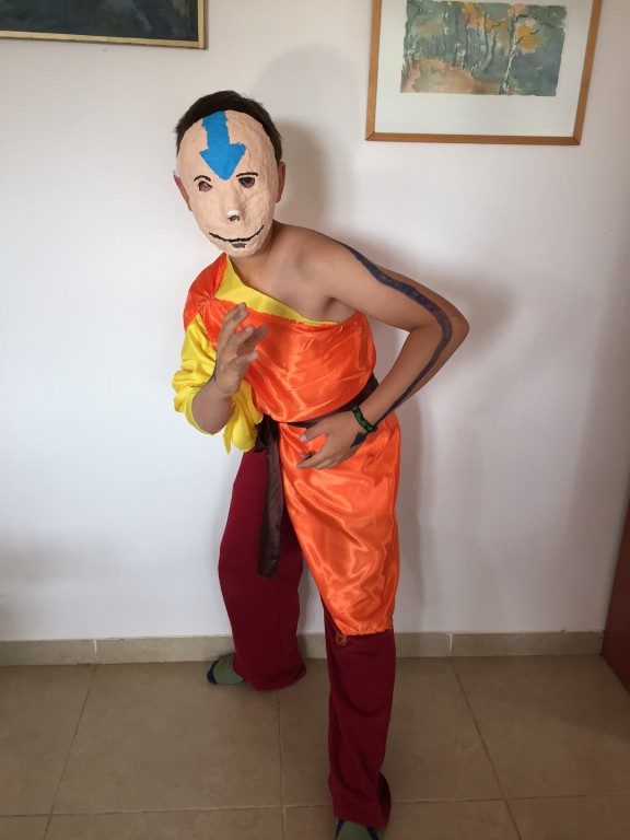 From the papier mache mask he made in art class to the swaths of cloth, the 12 year old in his vision of Aang from Avatar. (Amanda Borschel-Dan)