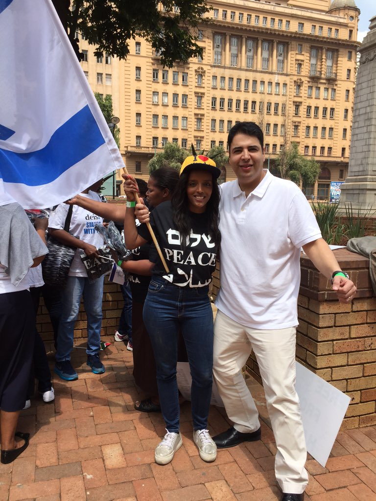 Shahar Azani with StandWithUs Student Mission Member to South Africa, Ashager Araro, on a pro-Israel rally in front of the legislature in Johannesburg, SA