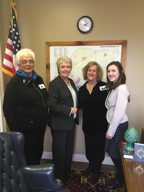 L- Linda Hooper, General Assembly Senate Chamber-Senator Janice Bowling, Nurit Greenger, Lydia Taylor