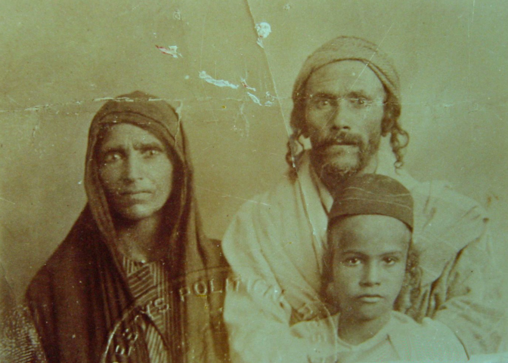 My grandfather and his parents in Palestine, 1920s.