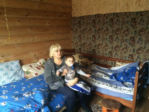 Lida from Luhansk in her dorm room in the Anatevka Jewish refugee village outside of Kyiv.