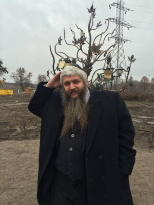 Rav Moshe Azman, one of two Chief Rabbis of Kyiv and Ukraine, outside what is supposed to be the central square of Anatevka. Rav Moshe has worked tirelessly to provide for the needs of the internally displaced Jews in Ukraine.