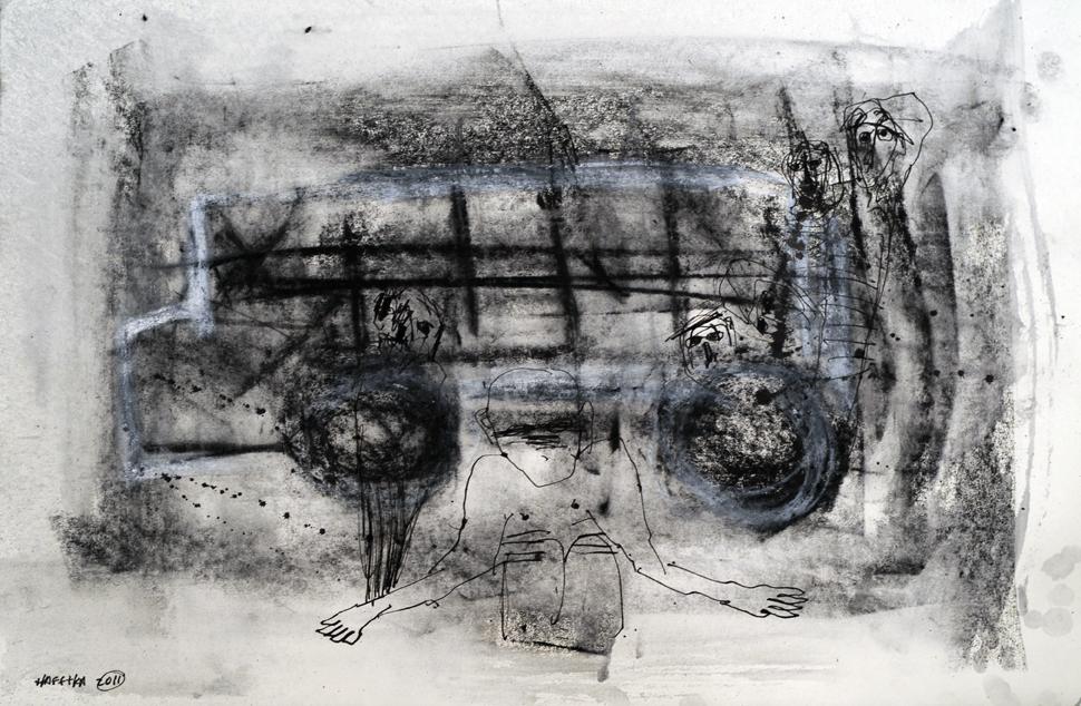 Jerusalem Bus drawing by Michael Hafftka