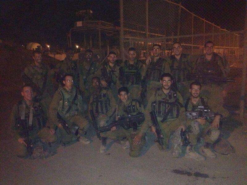 Sean (top row, right-hand side) with his platoon on a base straddling the Israel-Gaza border. (photo credit: Facebook)