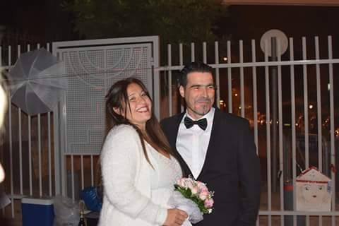 Daniela and Arik at their wedding, outside Bibi's house. The authorities did not permit the child to attend