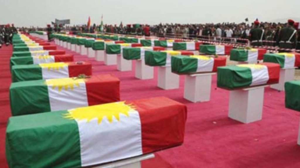 Coffins containing the remains of Anfal victims
