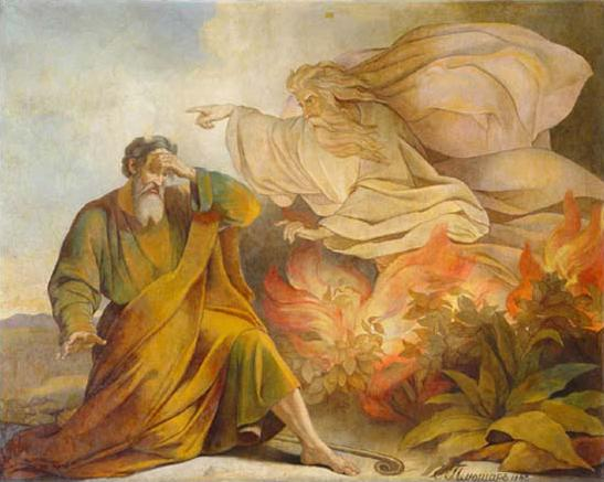 God Appears to Moses in Burning Bush. Painting from Saint Isaac's Cathedral, Saint Petersburg, by Eugene Pluchart (1809-1880)