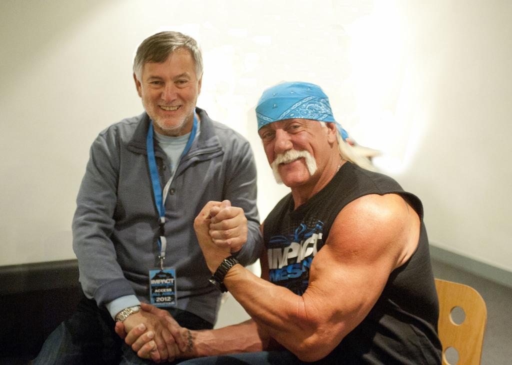 "My father with Hulk Hogan. Hulk calls him his ""Holy Brother."""