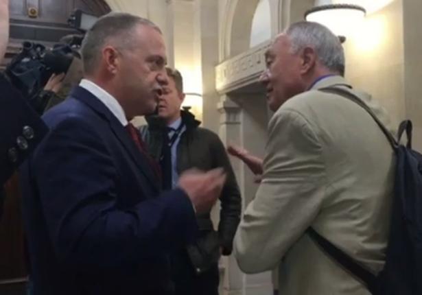 'Nazi apologist': John Mann (left) confronts Ken Livingstone