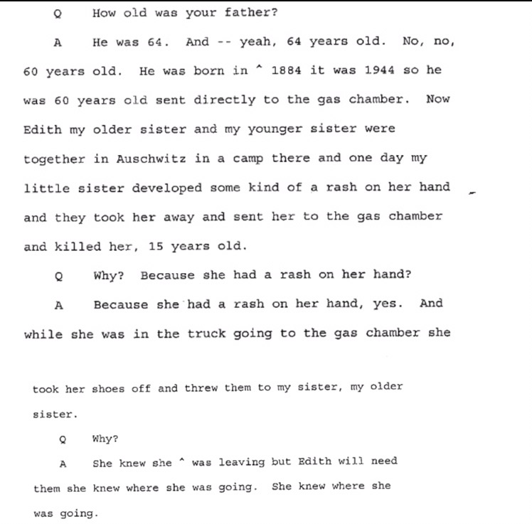 Pages from the deposition of Dr. Larry Gladstone regarding the Shoah