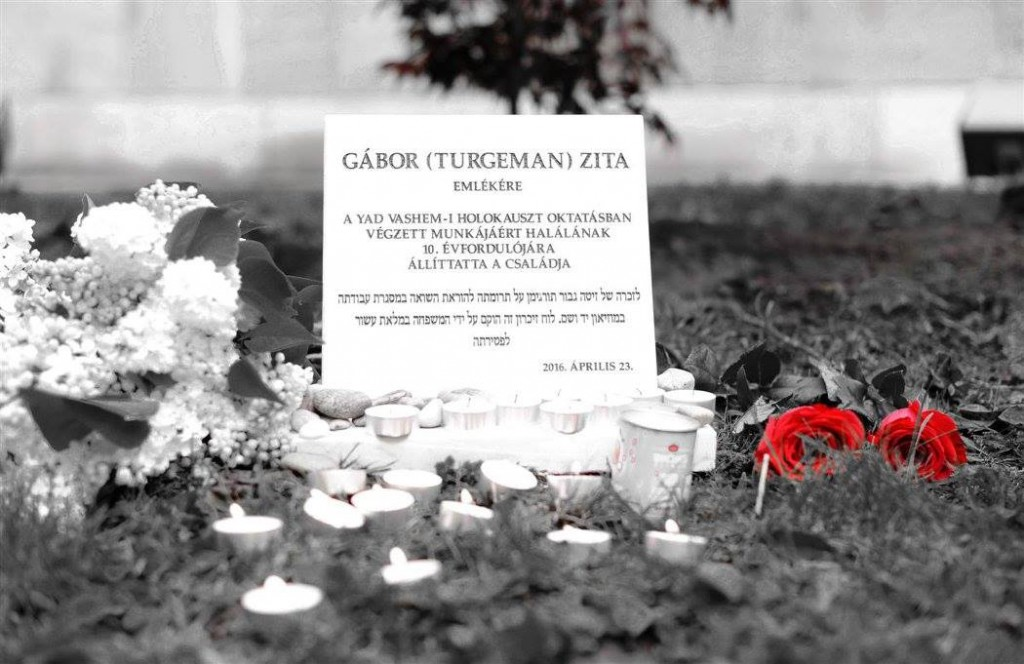 Memorial plaque for Zita, Budapest 2016 (credit Roni Gabor)