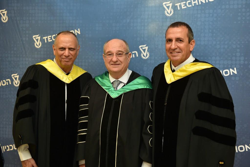 (From left) Dov Moran, Technion President Peretz Lavie, Eyal Waldman