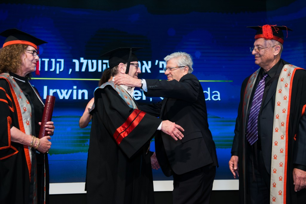 Prof. Irwin Cotler receives an honorary doctorate at Ben Gurion University of the Negev, June 7, 2016 (Courtesy Ben Gurion U)