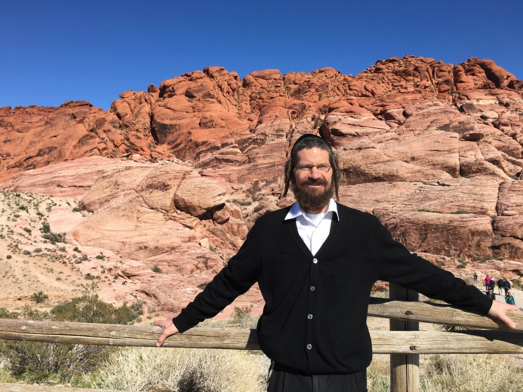 Rabbi Glaser at Red Rock Canyon, Nevada. Rabbi Glaser notes that geologists study the the rock layers of the canyon, in the Possible You, we will explore the layers of who we are as people.