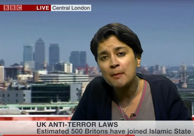 Shami Chakrabarti, Chair of Labour Antisemitism Inquiry and formed Director of 'Liberty', speaking against new anti-terror legislation {Youtube screenshot}