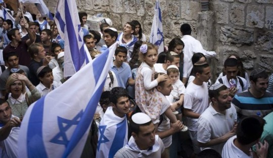 Traditional Jerusalem Day Flag Parade (Photo by Tali Mayer)