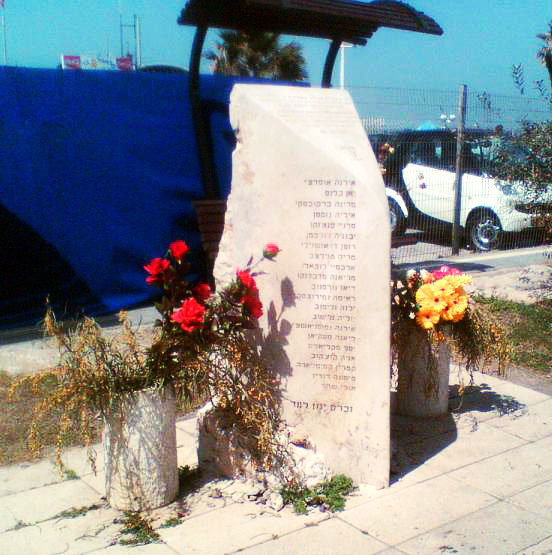 Memorial for the victims of the Dolphinatium suicide bombing. 21 Israeli youngsters (the majority teenage girls were killed by a 22 year old Palestinian terrorist.