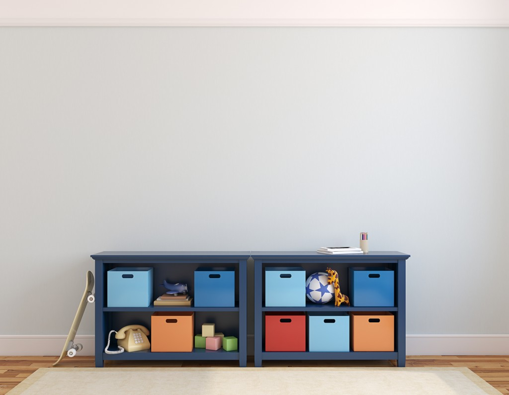 Save Download Preview Colorful playroom interior with blue commode