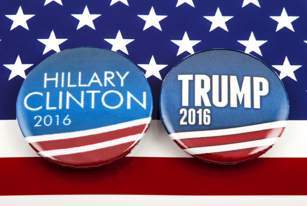 hillary clinton and donald trump pin