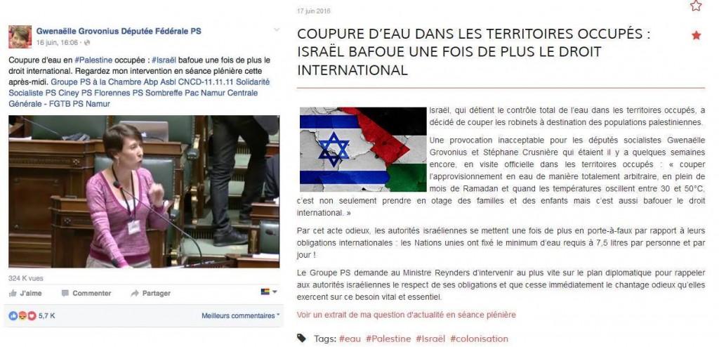 MP Gwenaëlle Grovonius advertises her anti-Israel slander on social media. Left: on her Facebook webpage. Right: on her blog