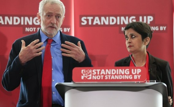 Jeremy Corbyn with Shami Chakrabarti at the enquiry into Labour anti-Semitism