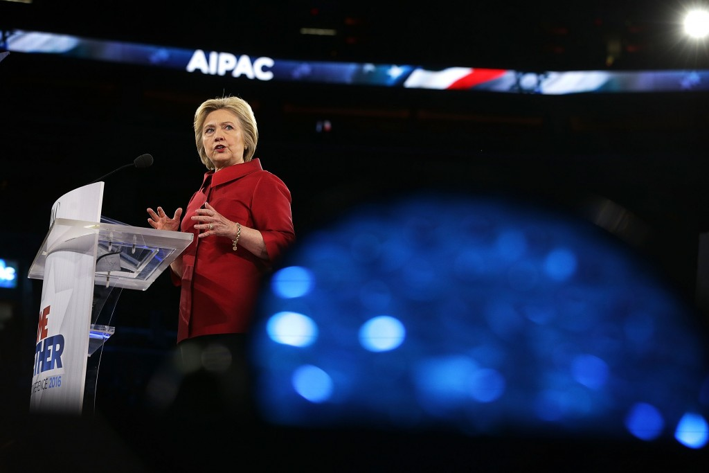 Hillary Clinton speaking at the annual AIPAC policy conference in Washington, D.C., March 21, 2016. (Alex Wong/Getty Images)