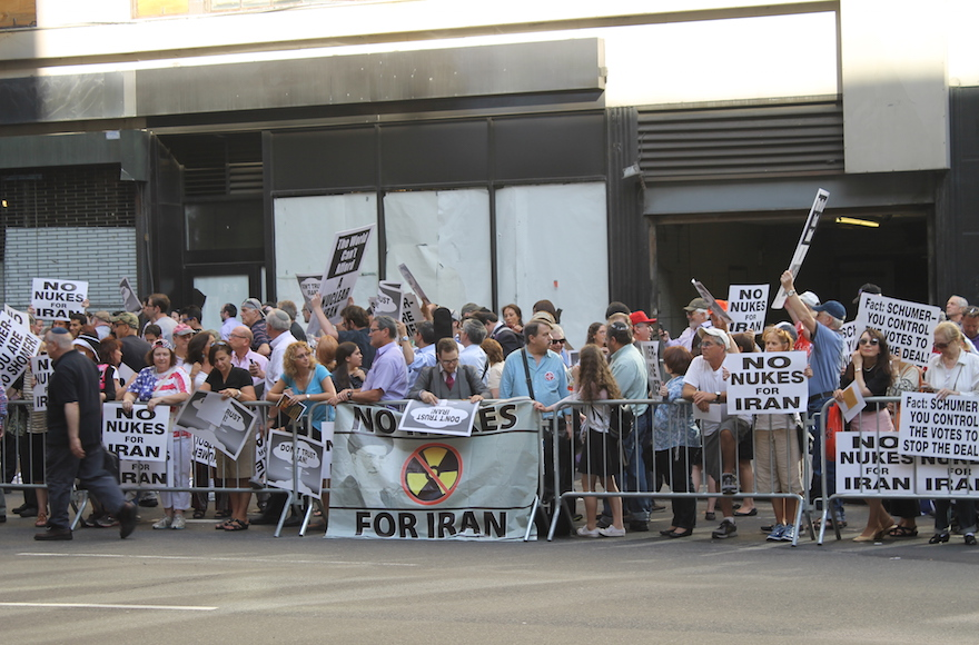 Thousands of protestors showed up in Times Square, New York City to protest the Iran deal on July 23, 2015. (Gabe Friedman)