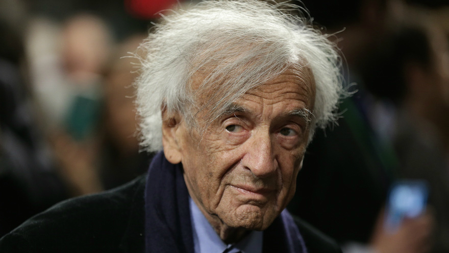 Elie Wiesel arrives for a roundtable discussion on the Iran nuclear deal on Capitol Hill in Washington, DC, March 2, 2015. (Win McNamee/Getty Images via JTA)