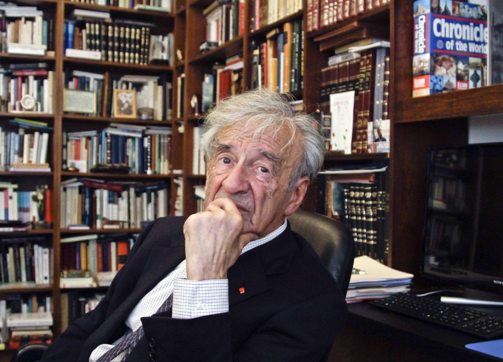 In this Sept. 12, 2012, photo Elie Wiesel is photographed in his office in New York. (AP Photo/Bebeto Matthews)