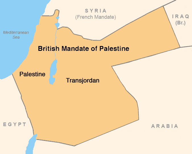Although part of the League of Nations Mandate of Palestine, the area east of the Jordan River was detached, prohibited for Jewish habitation and made into the Emirate (and later Kingdom) of Transjordan.