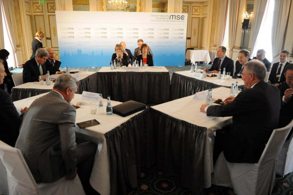 The 'Middle East Quartet' meets in New York to promote a 'roadmap' for Israel and Palestine. {public domain photo from a previous meeting in Munich, Germany}
