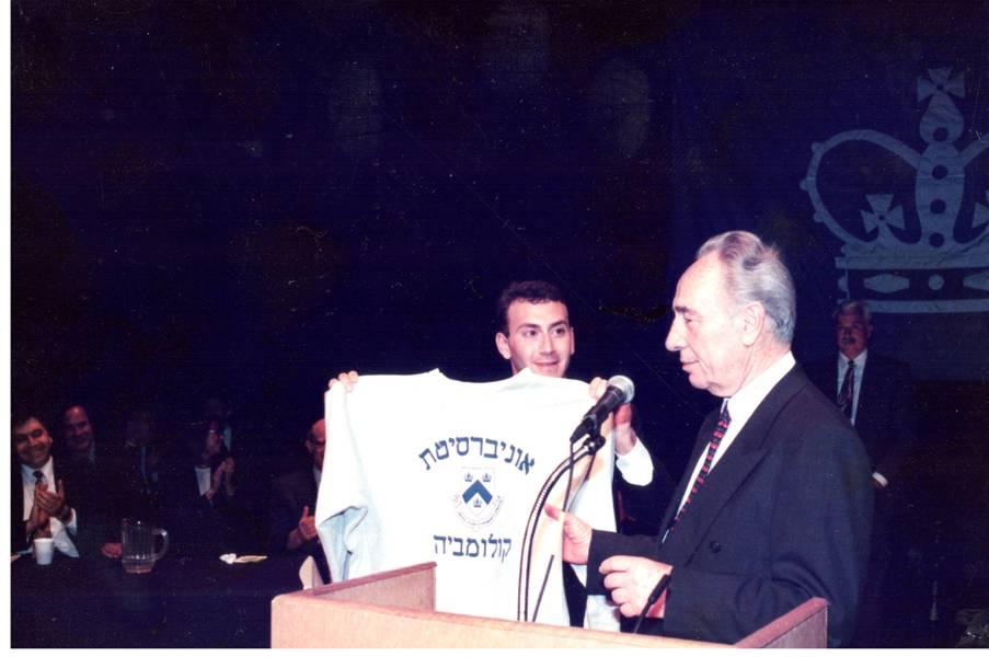 David Lerner and former Prime Minister Shimon Peres at Columbia