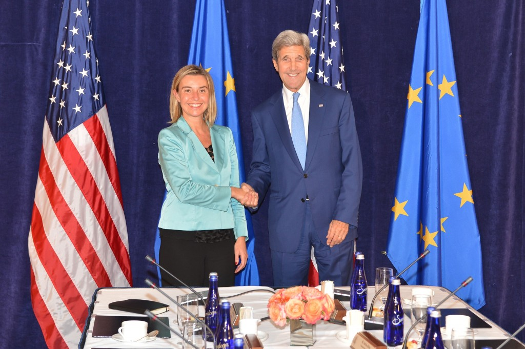 US Secretary of State John Kerry and EU High Representati ve Federica Mogherini congratulate each other in New York. They have finally set the Middle East right!