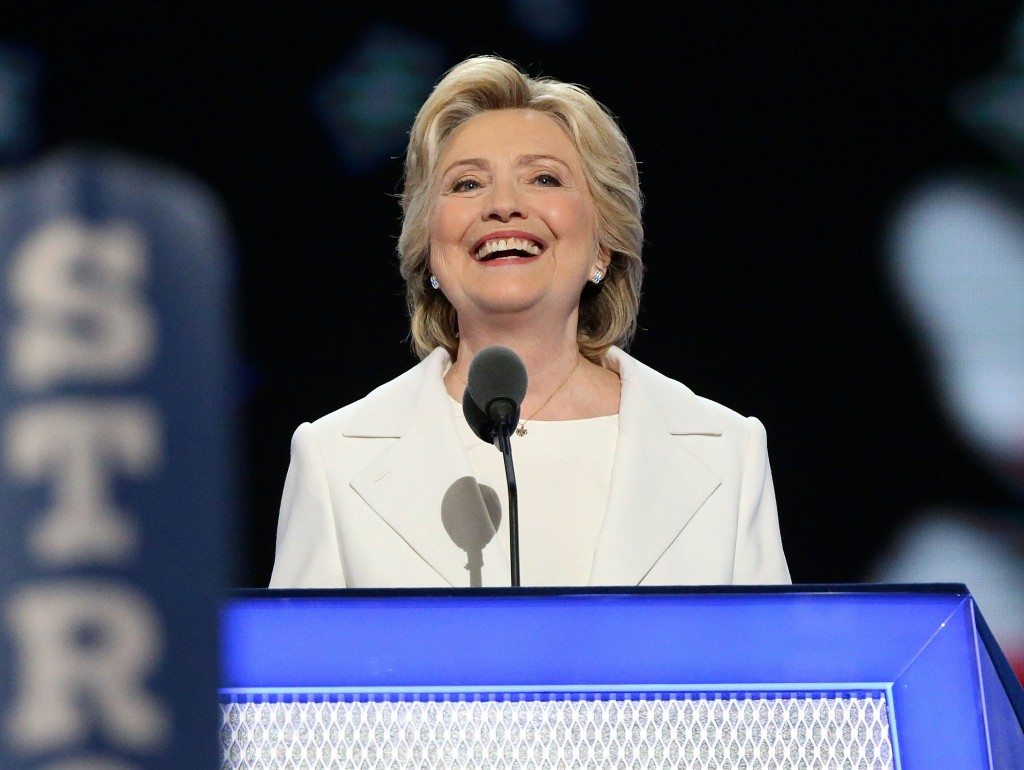 Hillary Clinton speaking at the Democratic National Convention in Philadelphia, July 28, 2016. (Paul Morigi/Getty Images)