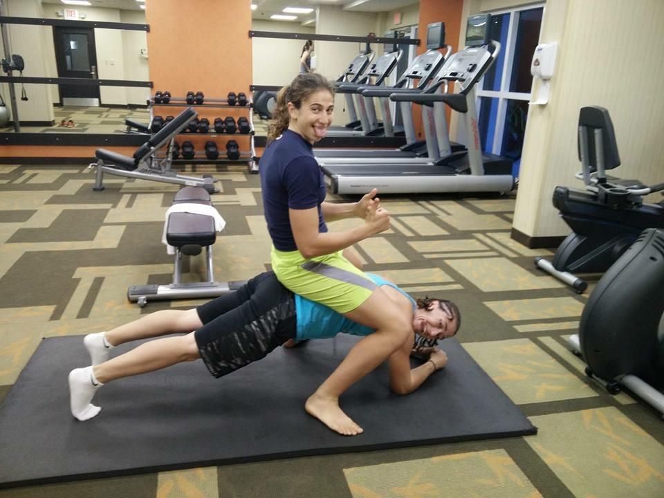 Niki Block and Yael Freedman working out