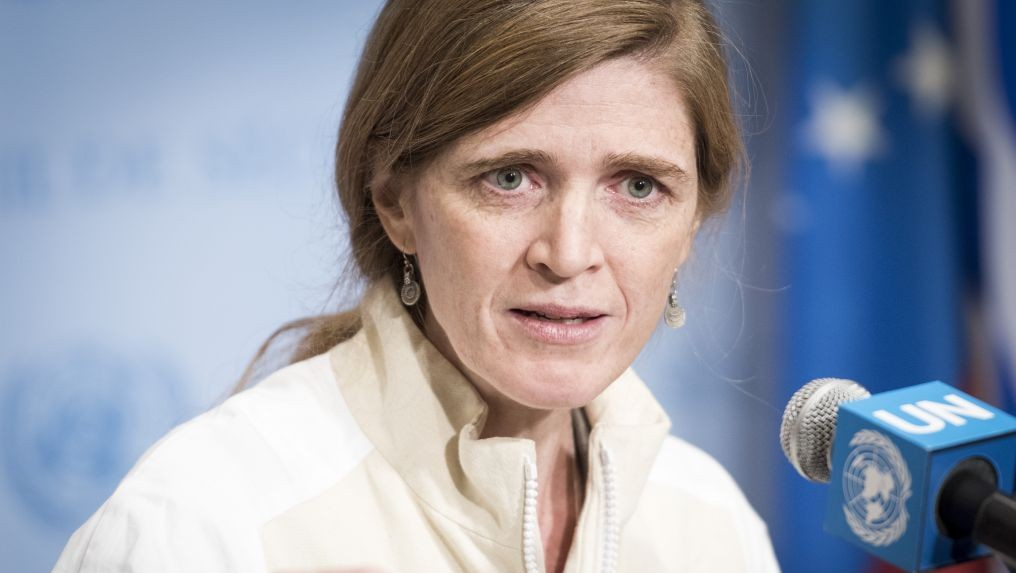 Samantha Power addressing a UN Security Council press conference on Iranian missile launches, March 14, 2016. (UN/Mark Garten)